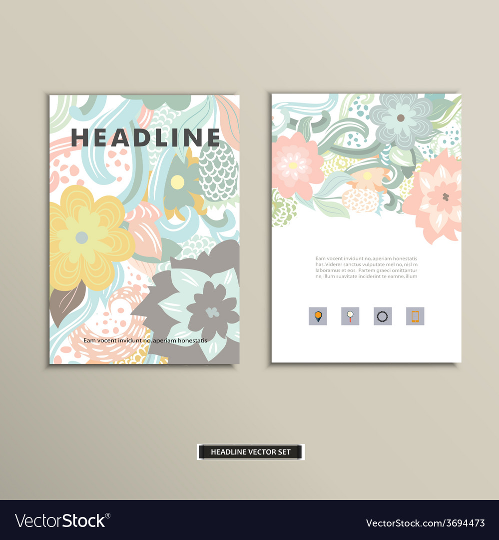 Book cover with flowers vintage design vector | Price: 1 Credit (USD $1)