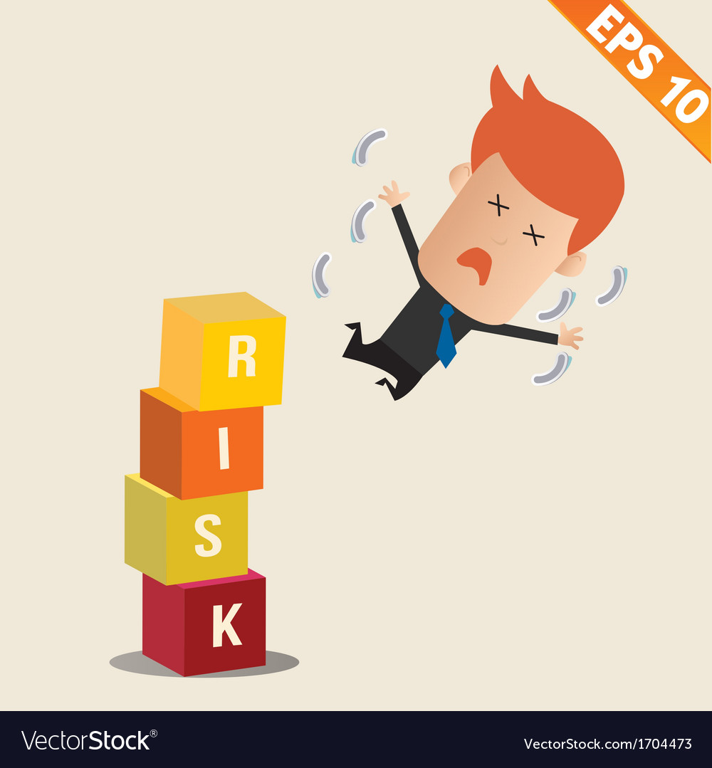 Cartoon businessman fall risk block - - eps1 vector | Price: 1 Credit (USD $1)