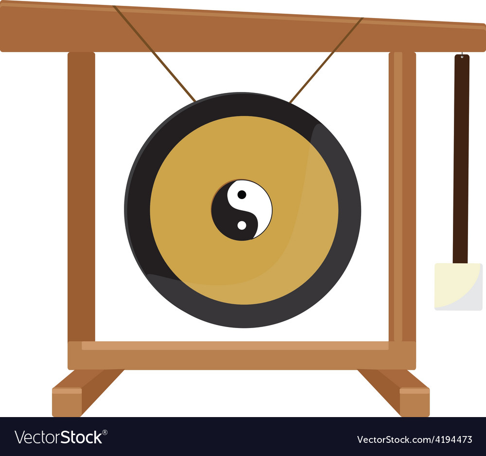 Chinese gong with yin and yang symbol hammer vector | Price: 1 Credit (USD $1)