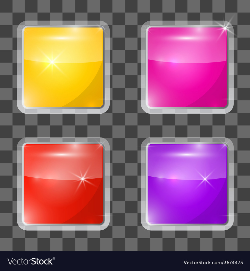 Colorful square glass buttons set on transparent vector   Price: 1 Credit (USD $1)