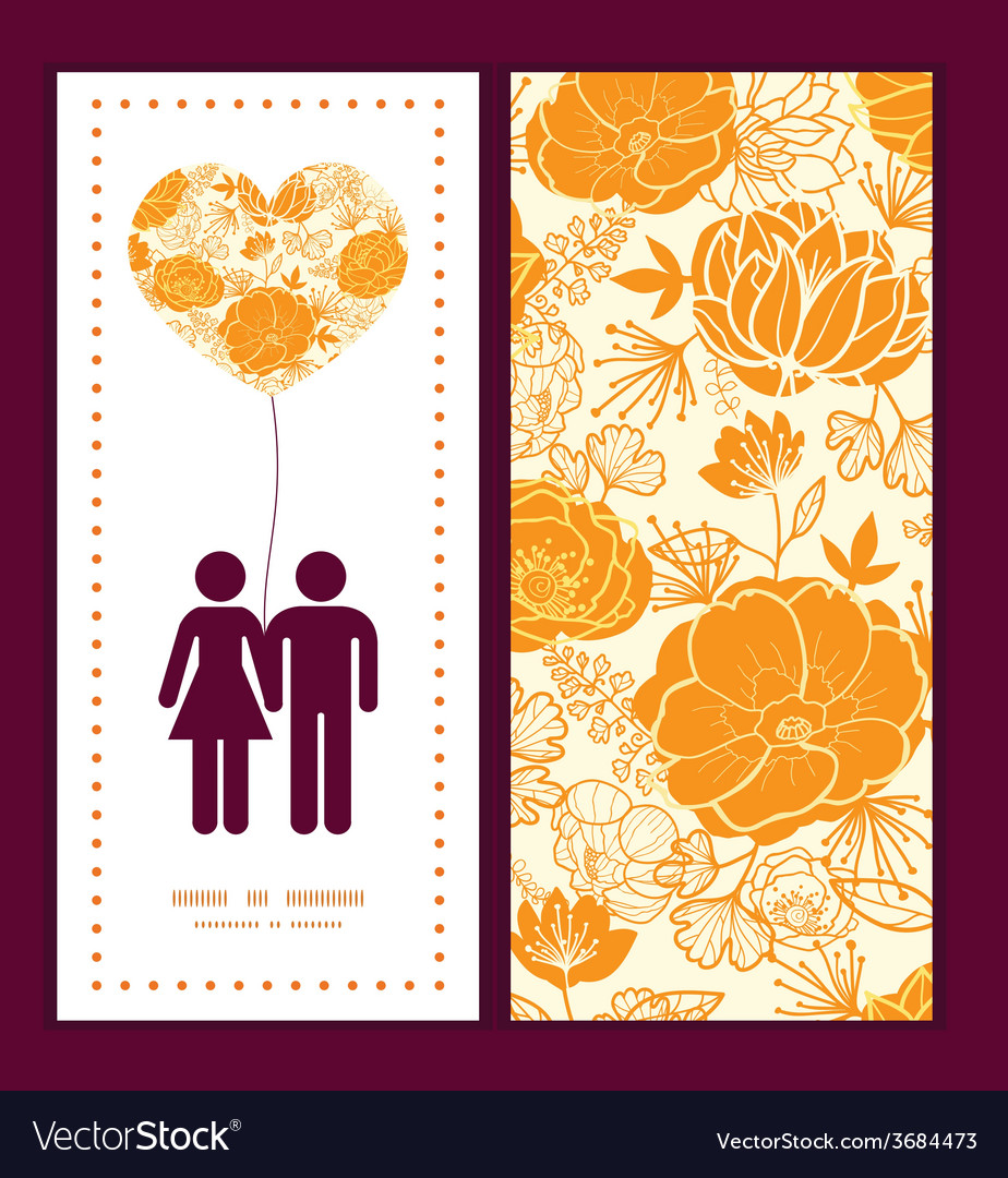 Golden art flowers couple in love silhouettes vector | Price: 1 Credit (USD $1)
