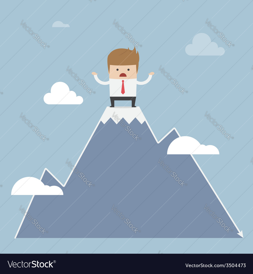 Man stuck on the top of mountain stock market con vector   Price: 1 Credit (USD $1)