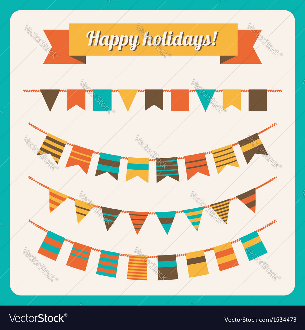 Set of bunting and garland in retro colors vector | Price: 1 Credit (USD $1)