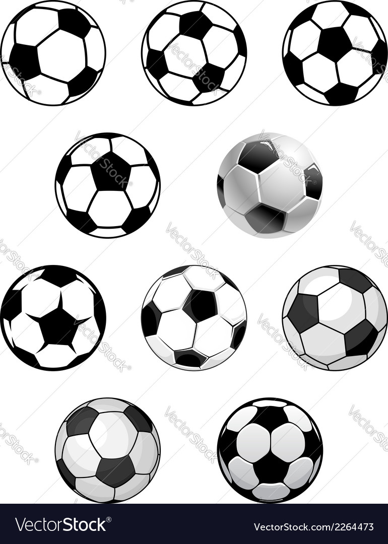 Set of soccer and football balls vector | Price: 1 Credit (USD $1)
