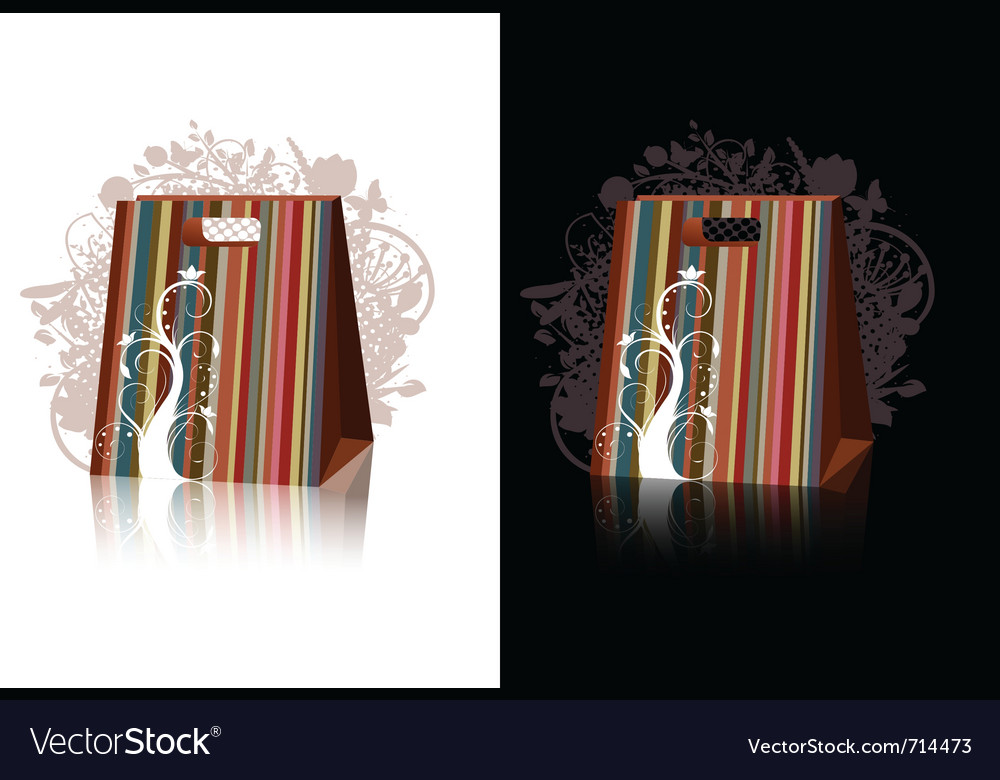 Striped shopping bags with floral decorations vector | Price: 1 Credit (USD $1)