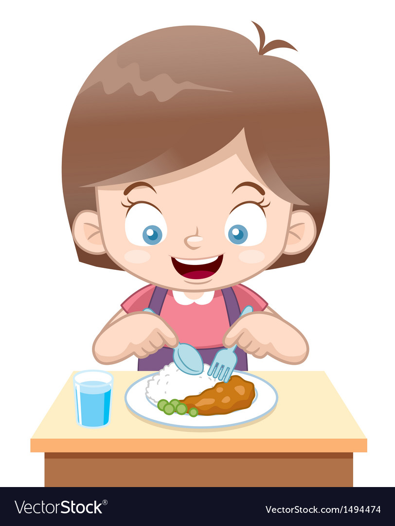 Girl eating vector | Price: 1 Credit (USD $1)