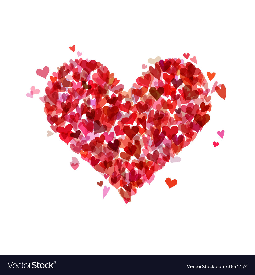 Heart of various hearts vector | Price: 1 Credit (USD $1)