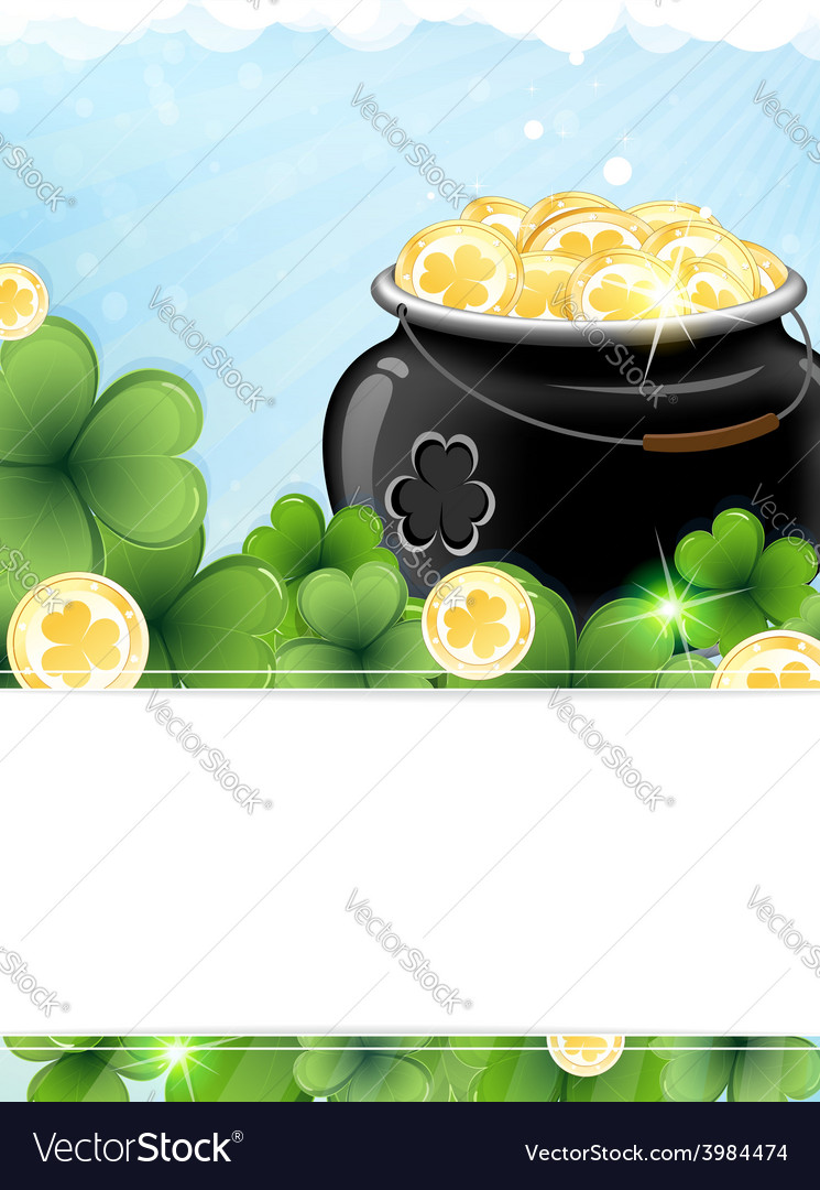 Leprechaun pot with gold coins and shamrock clover vector | Price: 1 Credit (USD $1)