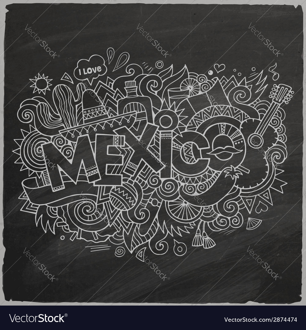 Mexico doodles elements chalkboard background vector | Price: 1 Credit (USD $1)