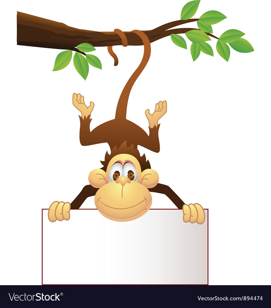 Monkey with blank sign vector | Price: 3 Credit (USD $3)