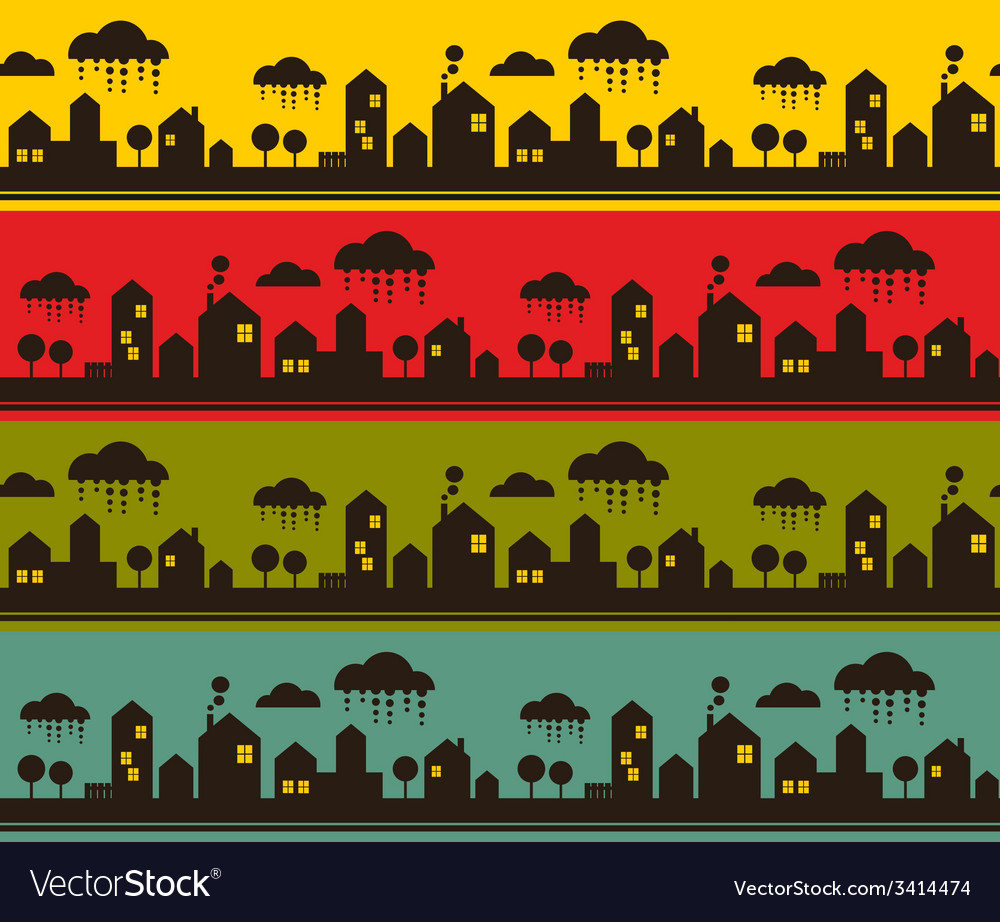 Night city seamless pattern vector | Price: 1 Credit (USD $1)