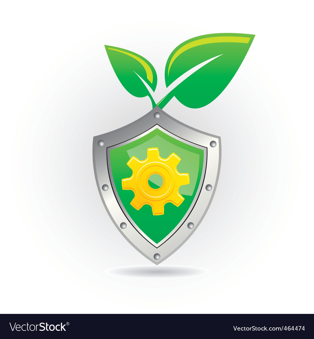 Shield with leaf icon vector | Price: 1 Credit (USD $1)
