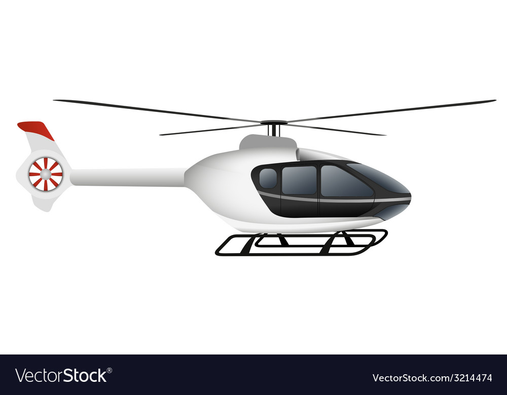 White modern helicopter vector | Price: 1 Credit (USD $1)