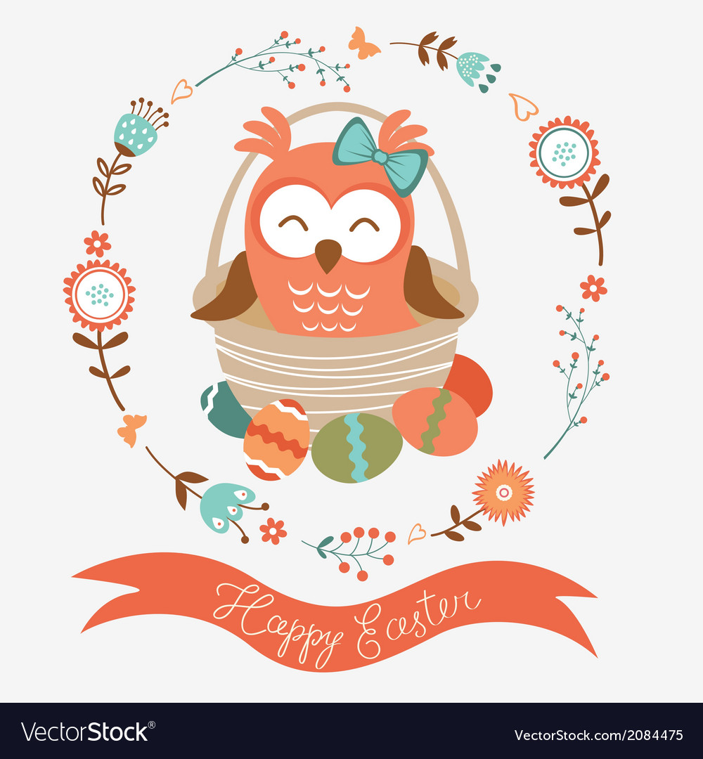 Cute easter owl vector | Price: 1 Credit (USD $1)