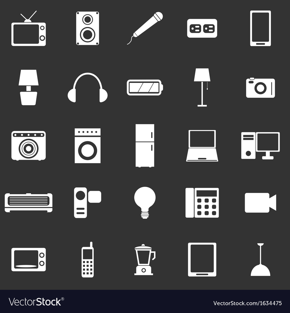 Electrical machine icons on black background vector | Price: 1 Credit (USD $1)