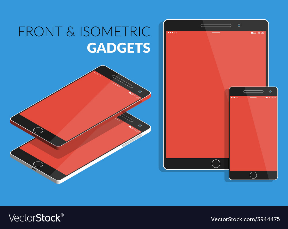 Flat design of electronic devices with red s vector | Price: 1 Credit (USD $1)