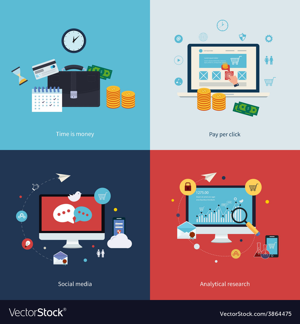 Icons for time is money pay per click online vector | Price: 1 Credit (USD $1)