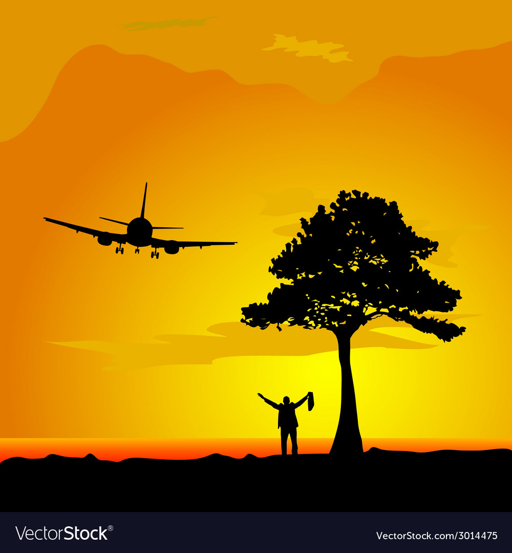 Man in the desert waiting for a plane vector | Price: 1 Credit (USD $1)