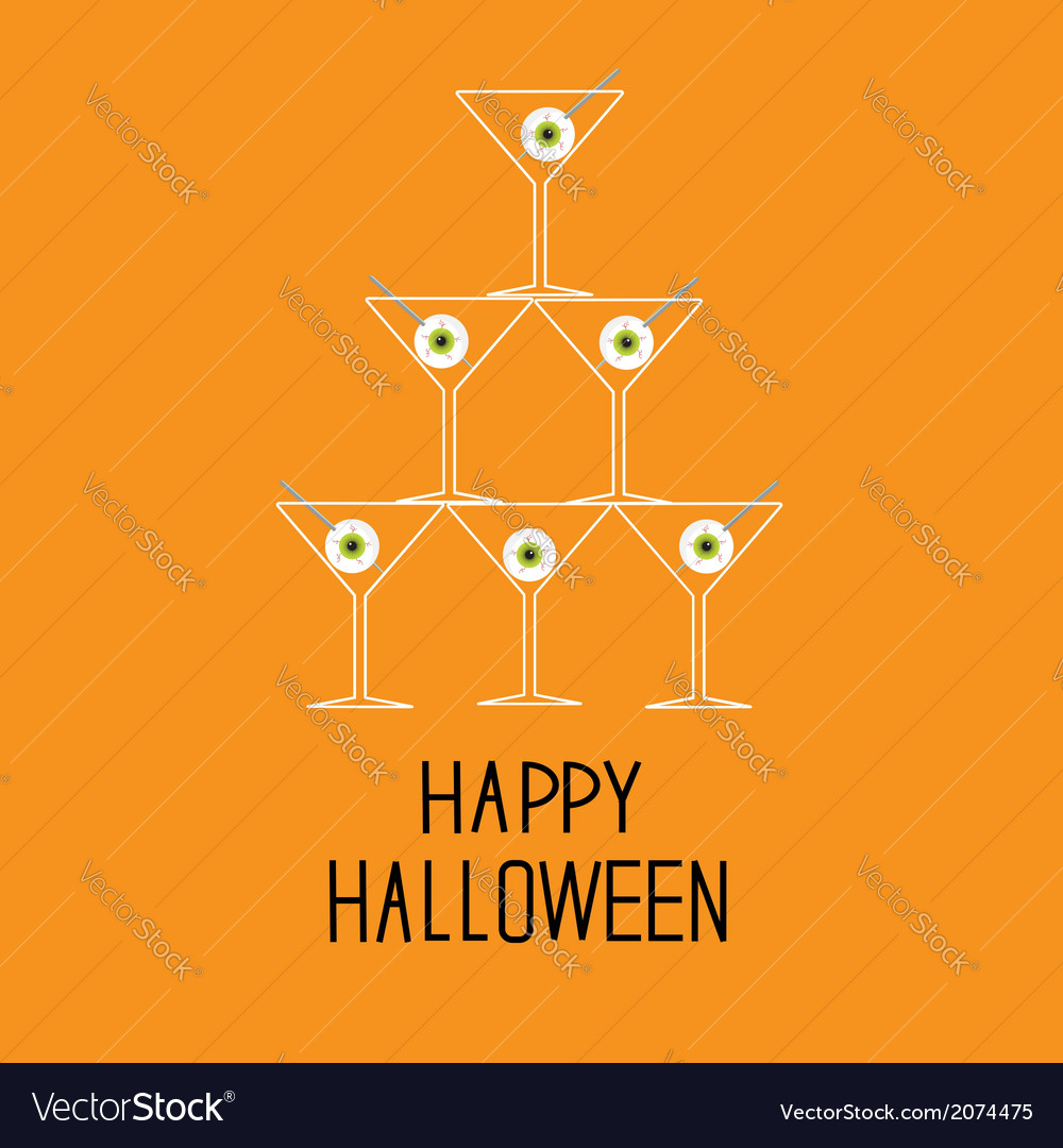 Martini glasses pyramid with eyeballs halloween vector | Price: 1 Credit (USD $1)