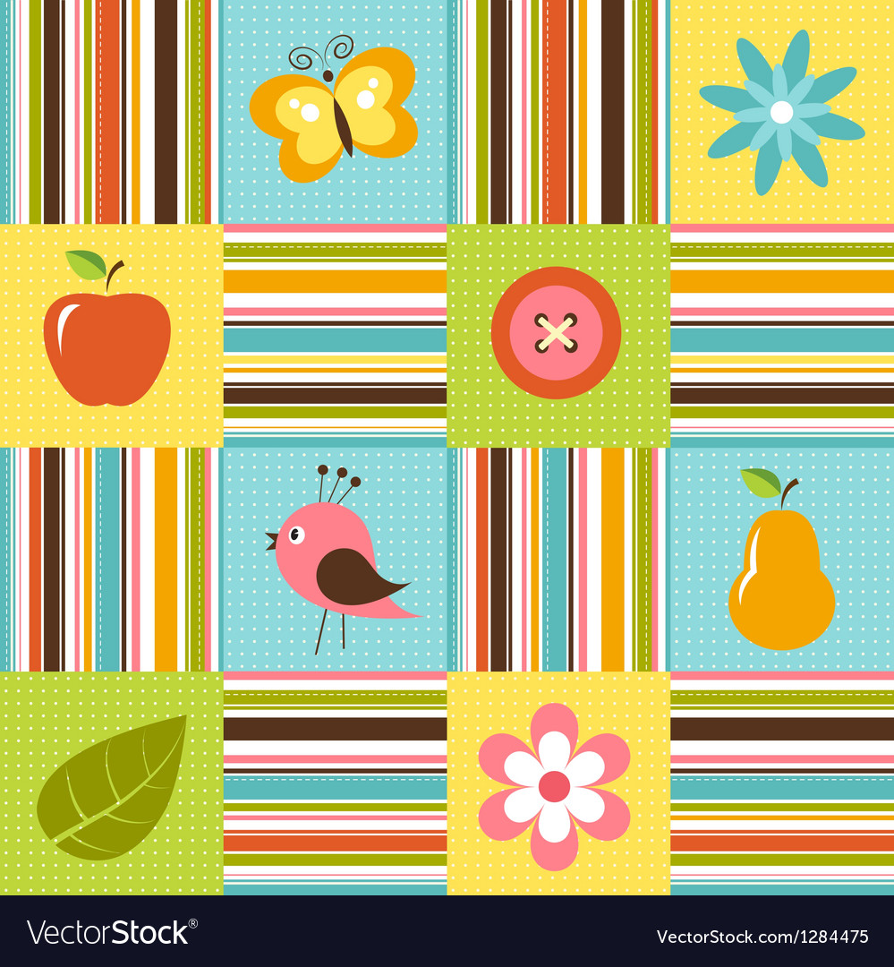 Patchwork background with flowers bird pear and vector | Price: 1 Credit (USD $1)