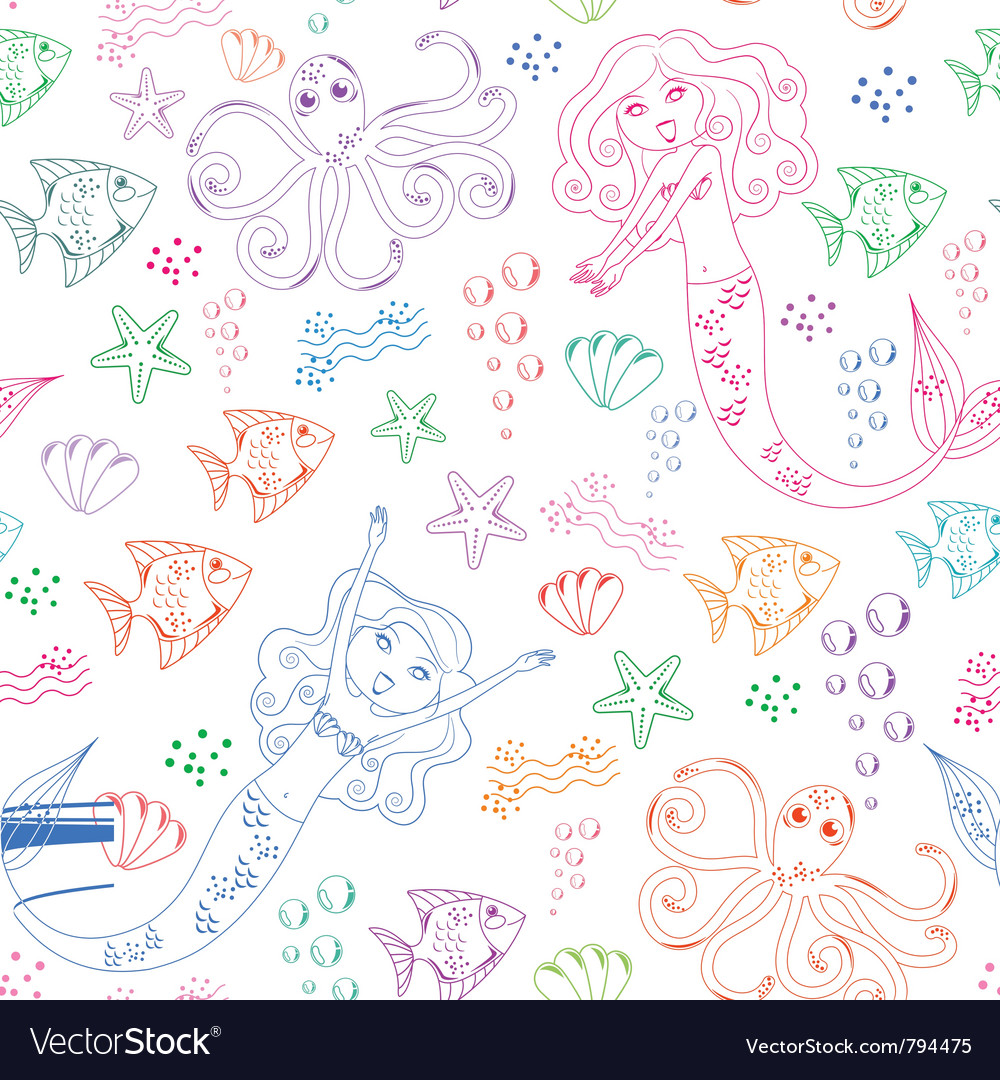 Sea life pattern vector | Price: 1 Credit (USD $1)