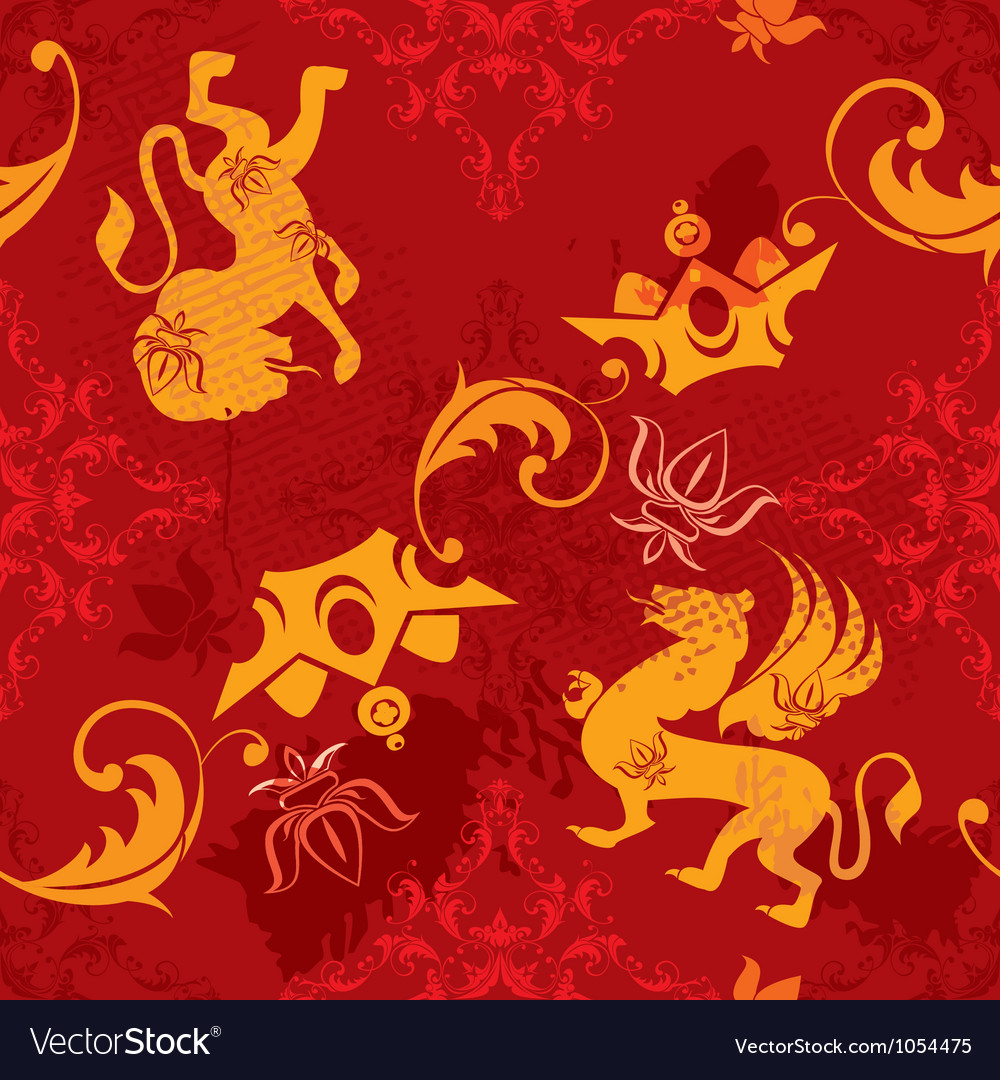 Seamless pattern with heraldic silhouettes vector | Price: 1 Credit (USD $1)