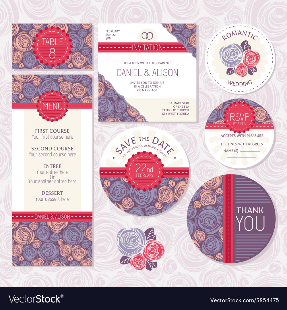 Set of floral wedding cards vector | Price: 1 Credit (USD $1)