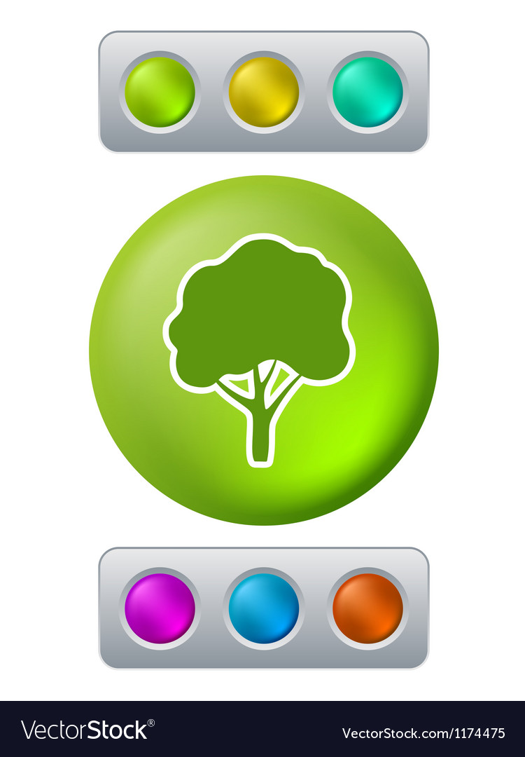 Tree on green button vector | Price: 1 Credit (USD $1)
