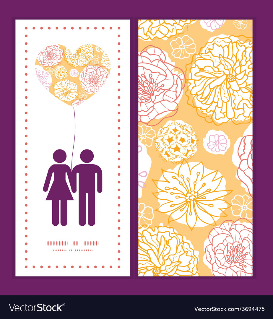 Warm day flowers couple in love silhouettes vector | Price: 1 Credit (USD $1)