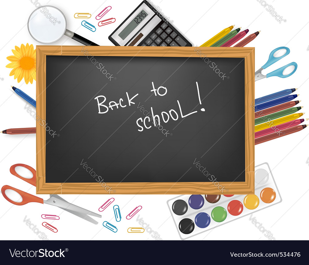 Back to school black desk vector | Price: 3 Credit (USD $3)