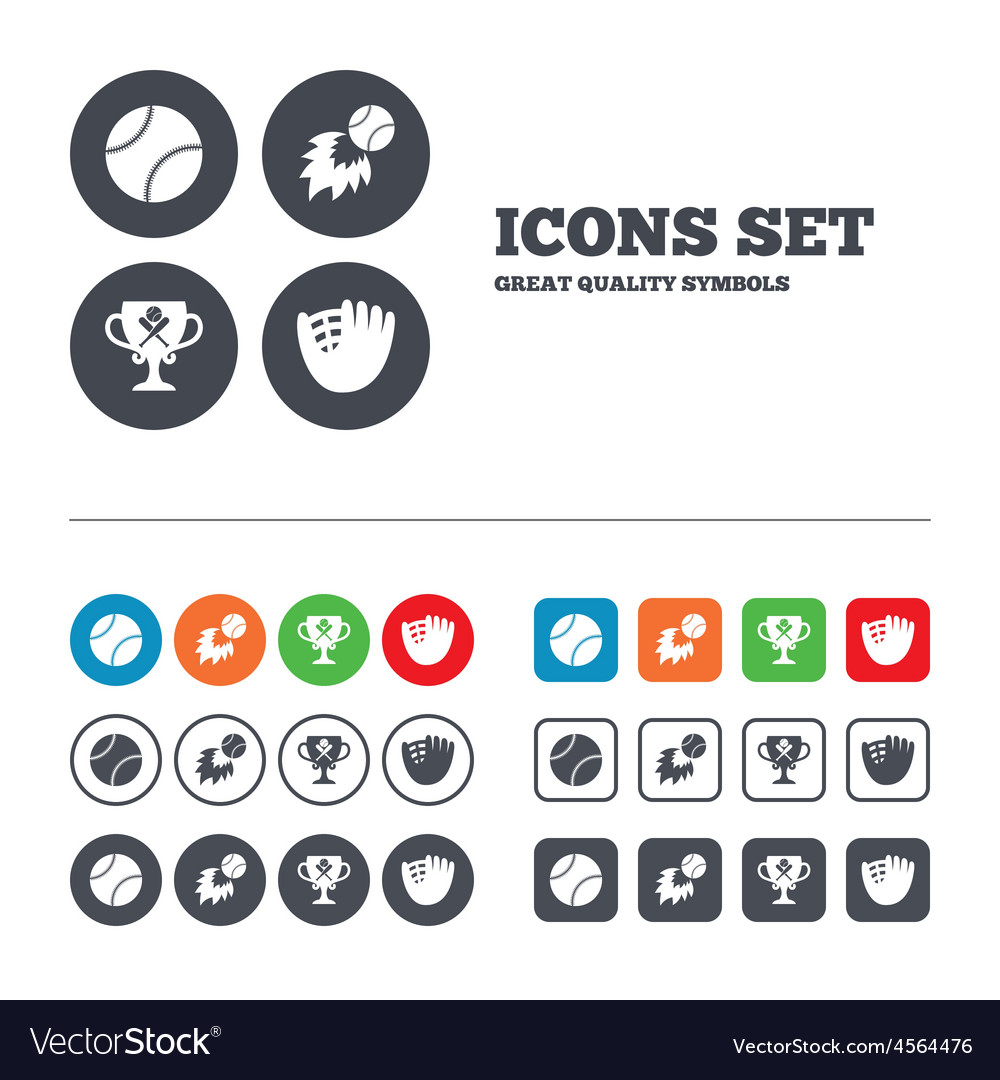 Baseball icons ball with glove and bat symbols vector | Price: 1 Credit (USD $1)