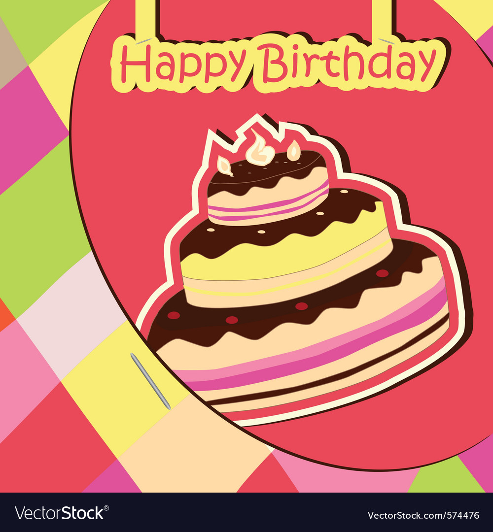 Colorful birthday card with cake vector | Price: 1 Credit (USD $1)