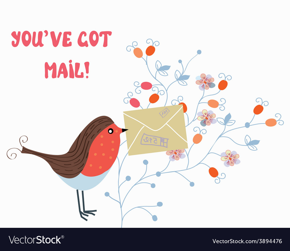 Funny card with bird and mail vector | Price: 1 Credit (USD $1)