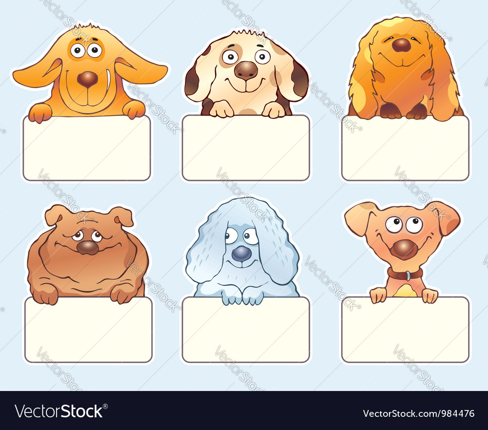 Funny dogs holding blank boards vector   Price: 1 Credit (USD $1)