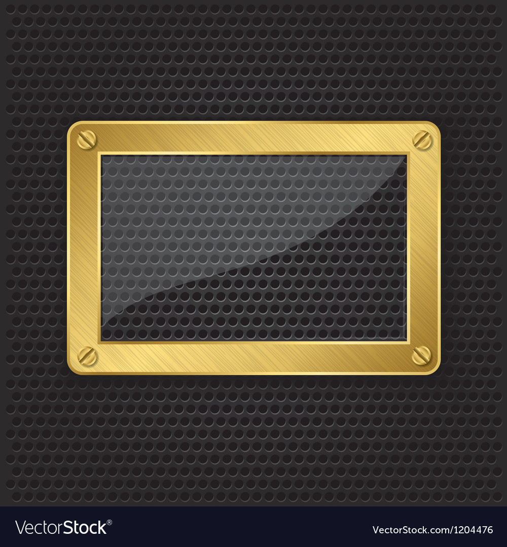 Glass in golden frame on abstract metal speaker gr vector | Price: 1 Credit (USD $1)