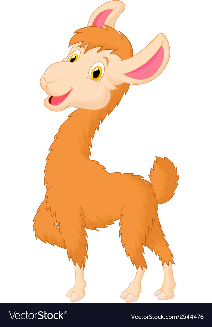 Happy llama cartoon vector | Price: 1 Credit (USD $1)