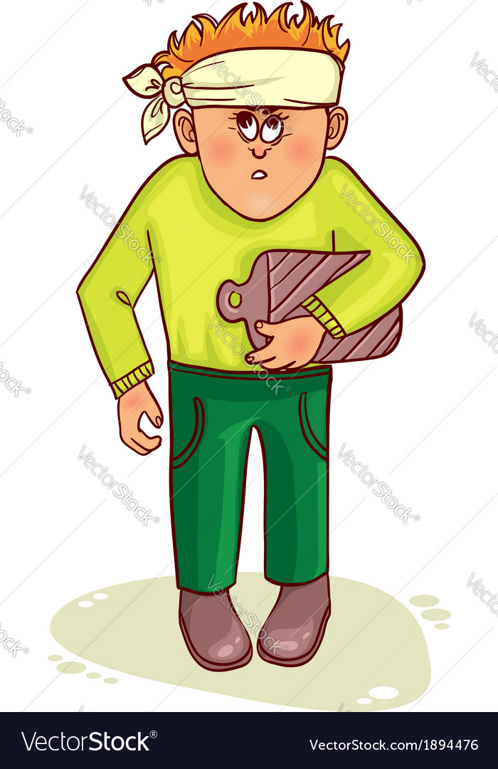 Ill little man with stomach issues and headache vector | Price: 1 Credit (USD $1)