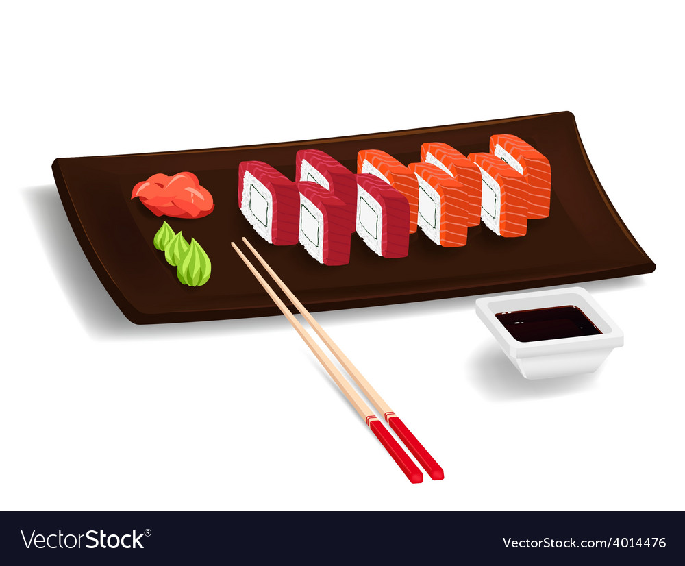 Japanese sushi with chopsticks vector | Price: 1 Credit (USD $1)