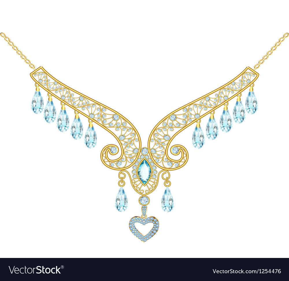 Necklace women with stones stones on the white vector   Price: 1 Credit (USD $1)