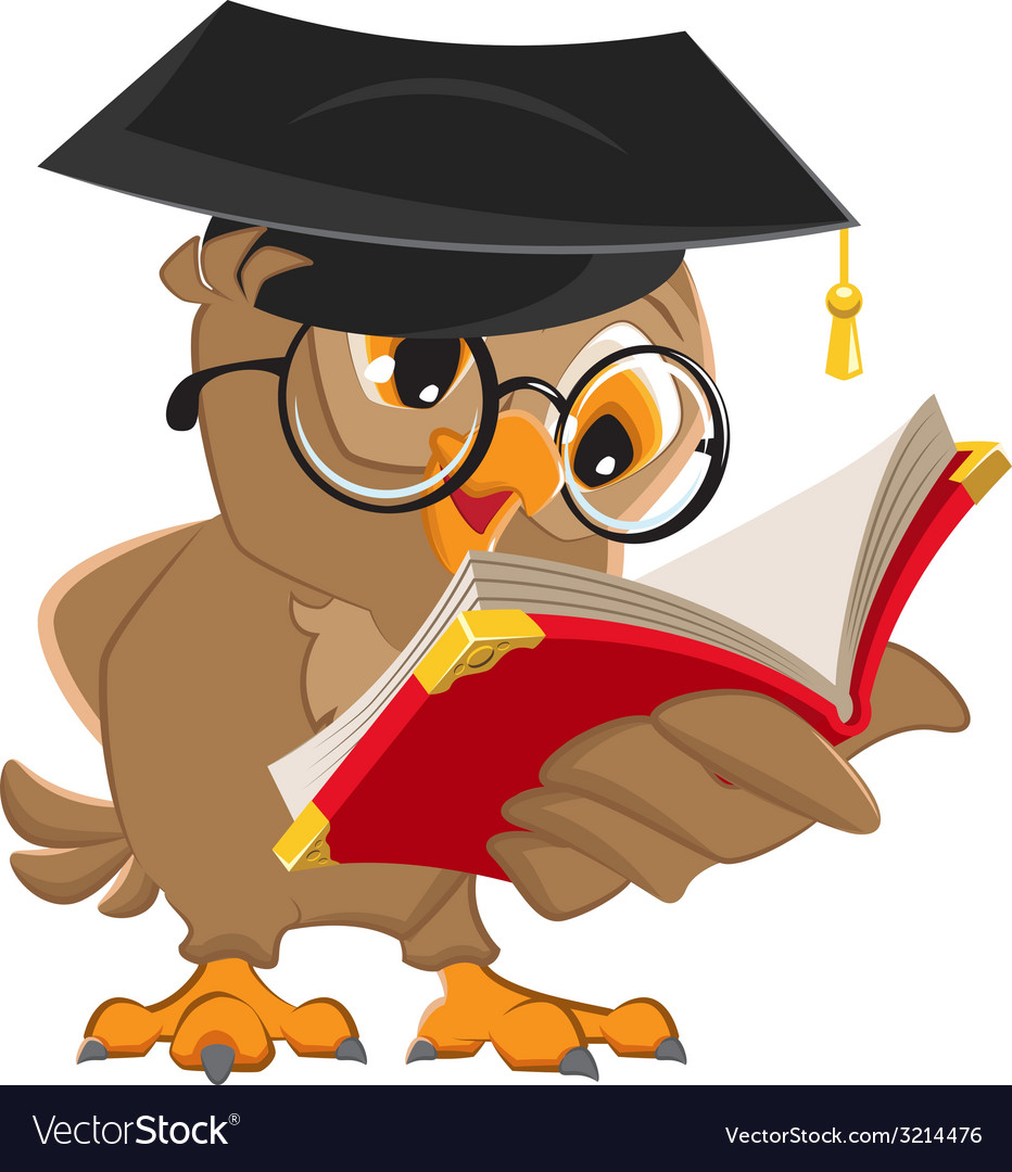 Owl reading a book vector   Price: 1 Credit (USD $1)