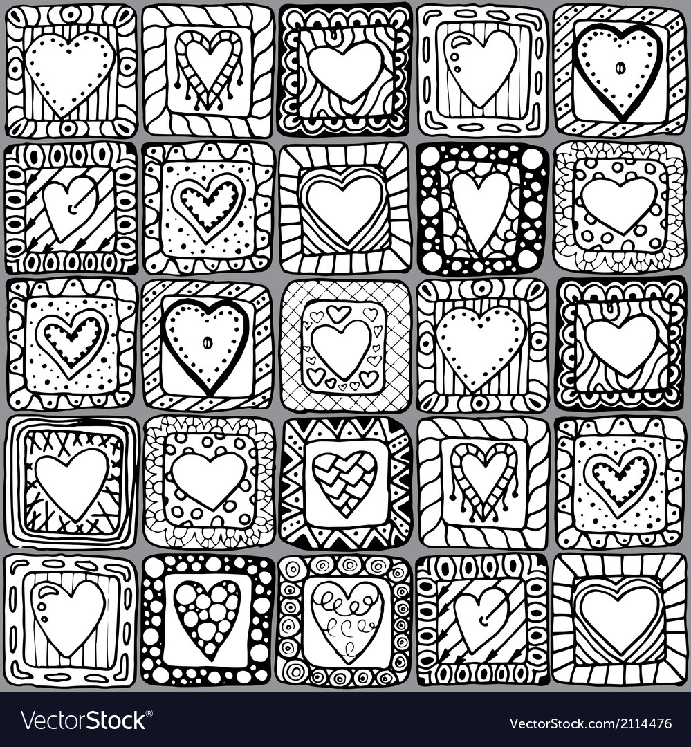 Seamless pattern of original doodle hearts vector | Price: 1 Credit (USD $1)