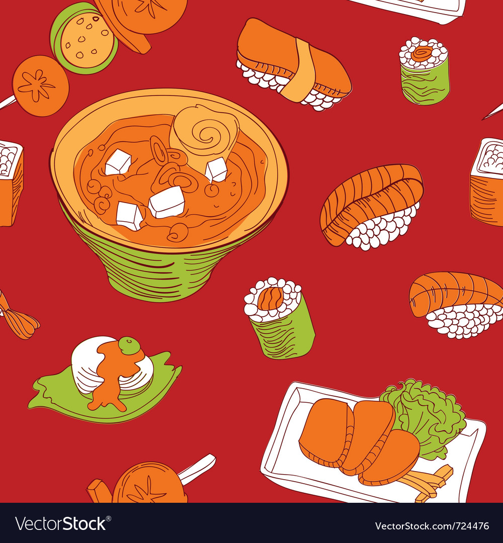 Seamless pattern with japan food - vector | Price: 1 Credit (USD $1)