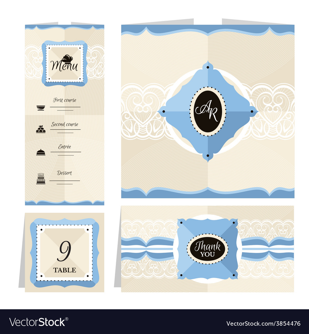 Set of retro wedding cards vector | Price: 1 Credit (USD $1)