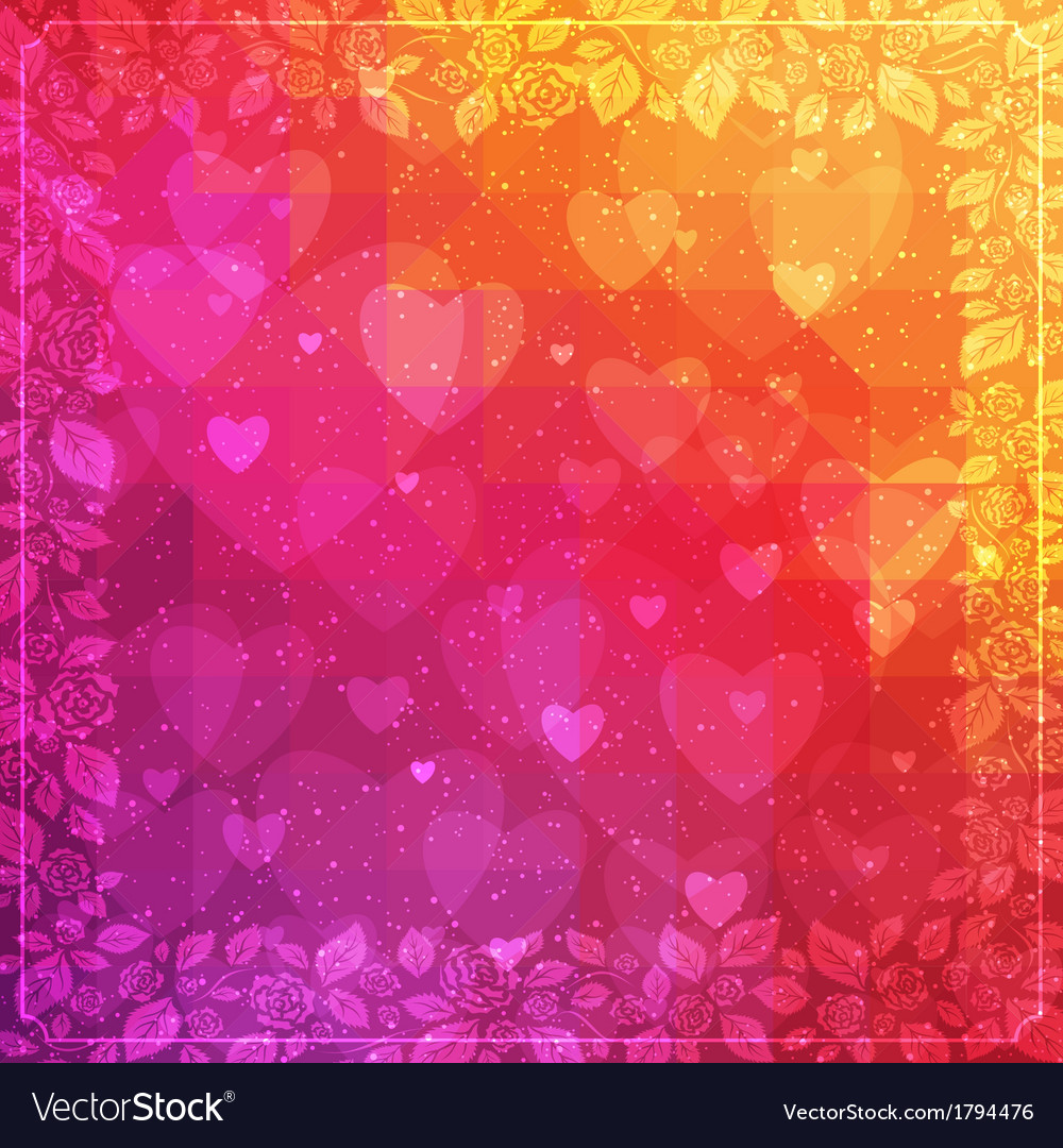 Valentines day background with rose frame vector | Price: 1 Credit (USD $1)
