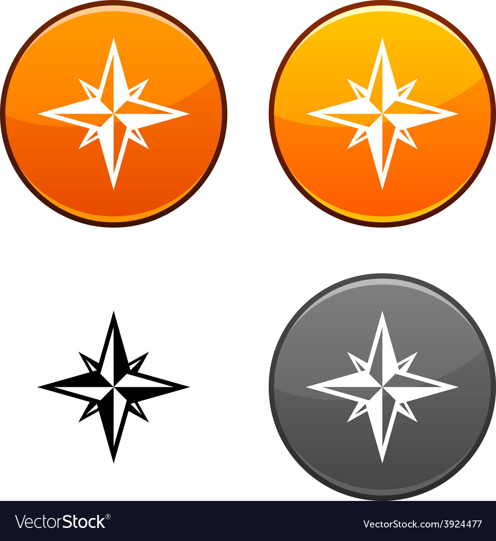 Compass button vector | Price: 1 Credit (USD $1)