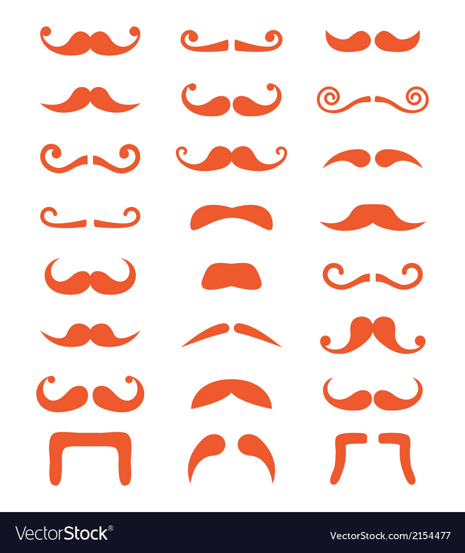 Ginger moustache or mustache icons set vector | Price: 1 Credit (USD $1)