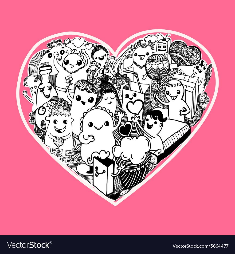 Kawaii heart cartoon vector | Price: 1 Credit (USD $1)