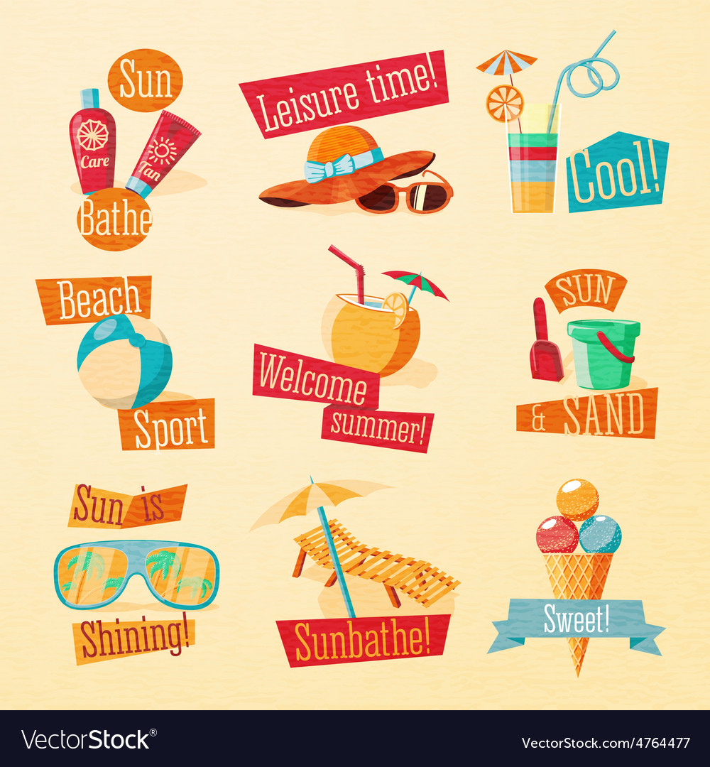 Set of cute bright summer icons with typographic vector | Price: 3 Credit (USD $3)