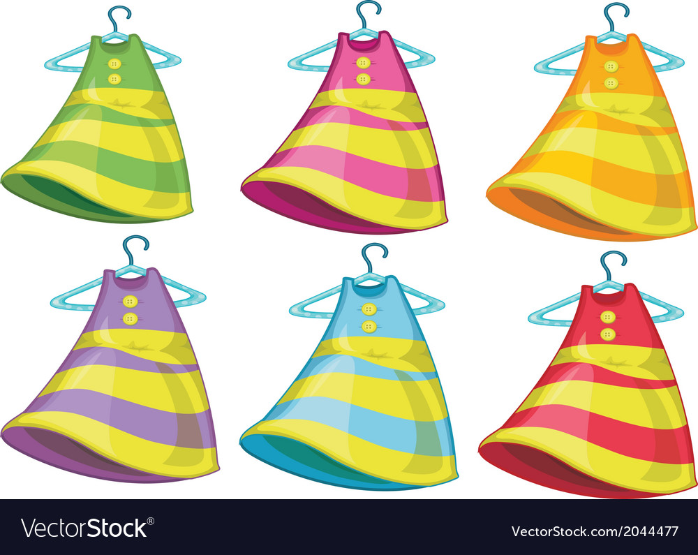 Six colourful dresses vector | Price: 1 Credit (USD $1)