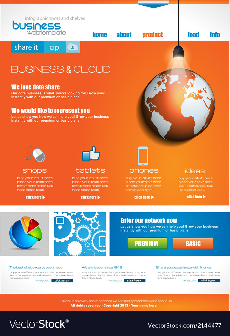 Website template for corporate business vector | Price: 1 Credit (USD $1)